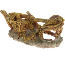 "Декорация для аквариума Barbus ""Лодка"" золотистая 18x8,5x7 см"