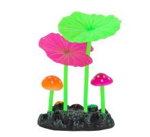 Флуоресцентная аквариумная декорация Gloxy, 2 гриба и 2 листа лотоса