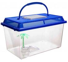 Переноска Barbus BOX 006 с пластиковой крышкой островком и пальмой, 16х9.5х12 см
