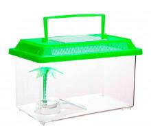 Переноска Barbus BOX 007 с пластиковой крышкой островком и пальмой, 18х11х12 см